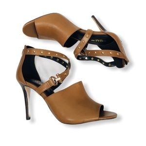 "COACH Camel/Gold Studded ""Rhonda"" Heels 8B"